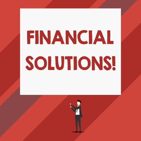 Writing note showing Financial Solutions. Business concept for to Save Money on Insurance and Protection Needs Isolated view man standing pointing upwards two hands big rectangle