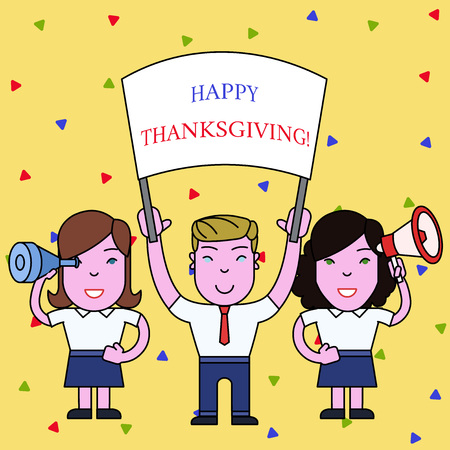 Handwriting text Happy Thanksgiving. Conceptual photo Harvest Festival National holiday celebrated in November People with Blank Banner, Megaphone and Spy Glass Peaceful Demonstration Stock Photo