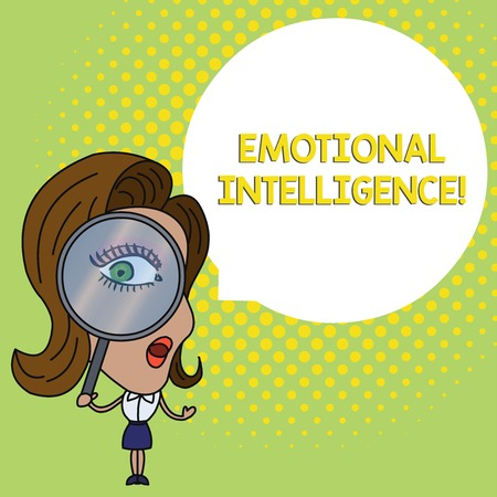 Conceptual hand writing showing Emotional Intelligence. Concept meaning Self and Social Awareness Handle relationships well Woman Looking Trough Magnifying Glass Big Eye Speech Bubble