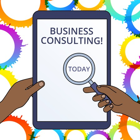 Conceptual hand writing showing Business Consulting. Concept meaning Blends Practice of Academic Theoretical Expertise Hands Holding Magnifying Glass Against Switched Off Tablet Banco de Imagens