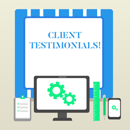 Handwriting text Client Testimonials. Conceptual photo Written Declaration Certifying demonstratings Character Value Business Concept PC Monitor Mobile Device Clipboard Ruler Ballpoint Pen