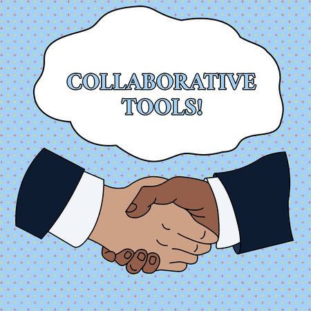 Word writing text Collaborative Tools. Business photo showcasing Private Social Network to Connect thru Online Email Hand Shake Multiracial Male Business Partners Colleagues Formal Shirt Suit Stock Photo