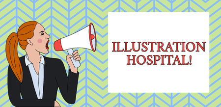 Conceptual hand writing showing Illustration Hospital. Concept meaning unique Applied Art of Medical Institution and Practice Woman Jacket Ponytail Shouting into Loudhailer Rectangular Box