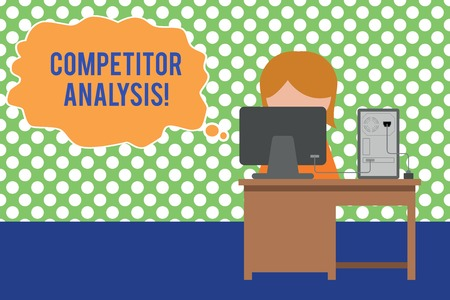 Text sign showing Competitor Analysis. Business photo text Determine the Strength Weakness of Competitive Market Young female working office sitting desktop computer office monitor photo Banque d'images