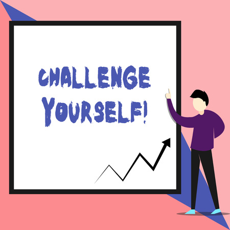 Text sign showing Challenge Yourself. Business photo text Setting Higher Standards Aim for the Impossible View young man standing pointing up blank rectangle Geometric background