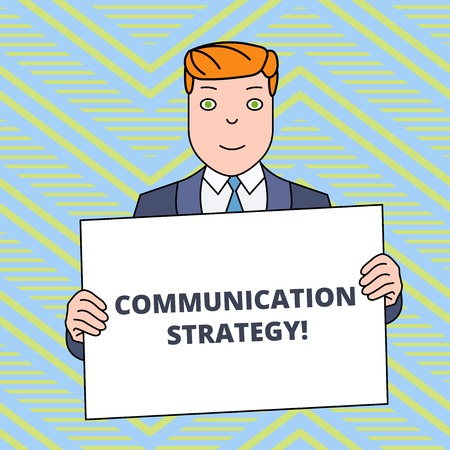 Text sign showing Communication Strategy. Business photo showcasing Verbal Nonverbal or Visual Plans of Goal and Method Smiling Man Holding Formal Suit Big Blank Poster Board in Front of Himself