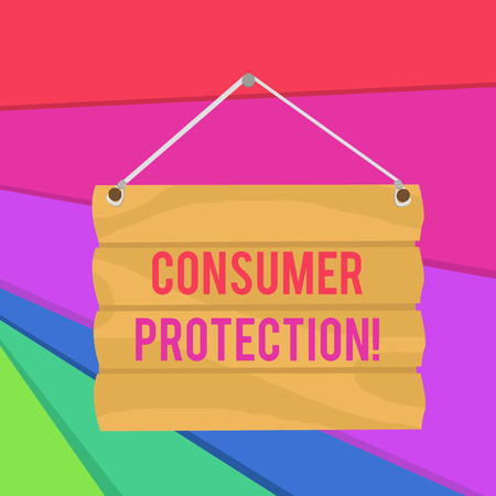 Word writing text Consumer Protection. Business photo showcasing Fair Trade Laws to ensure Consumers Rights Protection Hook Up Blank Sign Plate. Empty Wooden Signboard with Lope for Hang