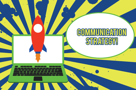 Text sign showing Communication Strategy. Business photo showcasing Verbal Nonverbal or Visual Plans of Goal and Method Launching rocket up laptop . Startup project. Developing goal objectives