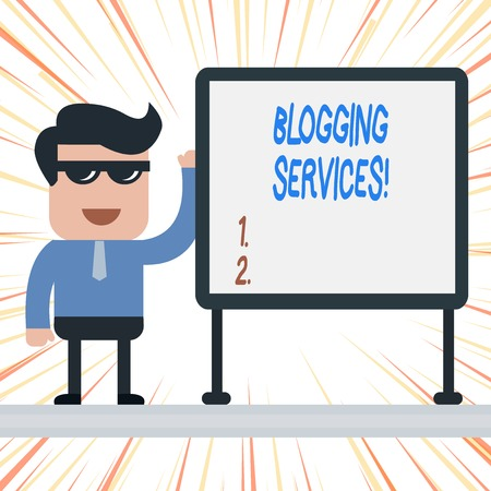 Handwriting text Blogging Services. Conceptual photo Social networking facility Informative Journalism Businessman Office Worker Sunglasses Blank Whiteboard Meeting Presentation