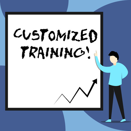 Word writing text Customized Training. Business photo showcasing Designed to Meet Special Requirements of Employers View young man standing pointing up blank rectangle Geometric background 免版税图像