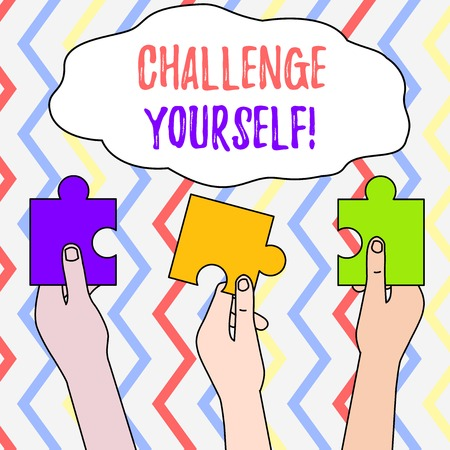 Handwriting text Challenge Yourself. Conceptual photo Setting Higher Standards Aim for the Impossible Three Colored Empty Jigsaw Puzzle Pieces Held in Different People Hands Stockfoto