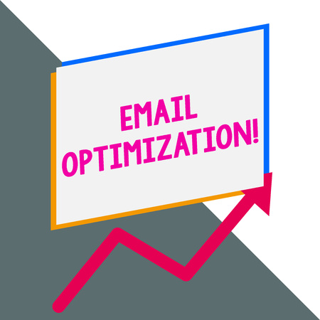 Conceptual hand writing showing Email Optimization. Concept meaning Maximize the effectiveness of the marketing campaign Blank rectangle above another arrow zigzag upwards sale