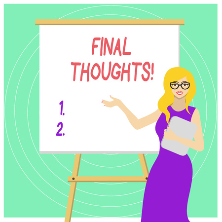 Handwriting text Final Thoughts. Conceptual photo should be last few sentences within your conclusions White Female in Glasses Standing by Blank Whiteboard on Stand Presentation