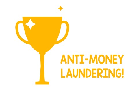 Conceptual hand writing showing Anti Money Laundering. Concept meaning regulations stop generating income through illegal actions Glitter Gold Trophy Championship Cup Winner Prize Isolated