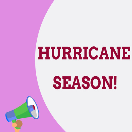 Text sign showing Hurricane Season. Business photo text time when most tropical cyclones are expected to develop Half part blank huge balloon empty text with small megaphone. Announcement