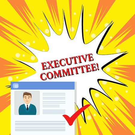 Handwriting text Executive Committee. Conceptual photo Group of Directors appointed Has Authority in Decisions Curriculum Vitae Resume of Young Male Candidate Marked by Colored Checkmark 스톡 콘텐츠 - 124226473