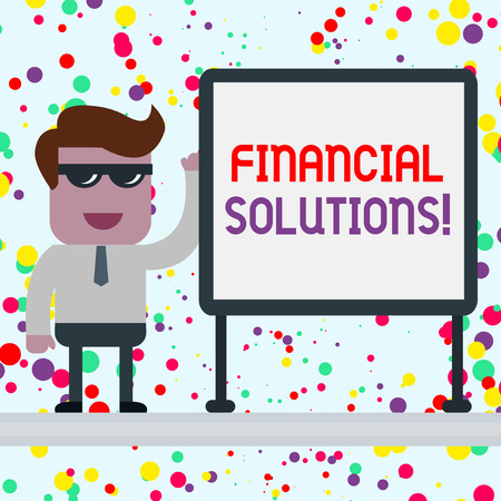 Conceptual hand writing showing Financial Solutions. Concept meaning to Save Money on Insurance and Protection Needs Office Worker Sunglass Blank Whiteboard Meeting Presentation Stockfoto