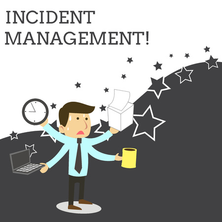 Word writing text Incident Management. Business photo showcasing Process to return Service to Normal Correct Hazards Stressed Out Male Employee Manager Many Armed Multitasking Meet Deadline