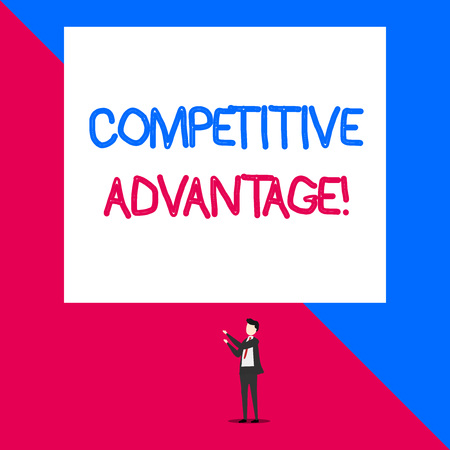 Writing note showing Competitive Advantage. Business concept for Company Edge over another Favorable Business Position Isolated view man standing pointing upwards two hands big rectangle 写真素材