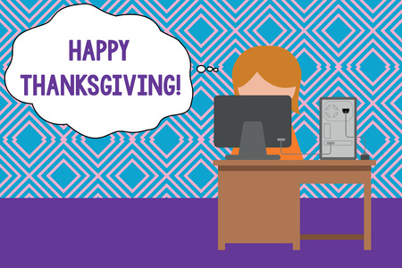 Conceptual hand writing showing Happy Thanksgiving. Concept meaning Harvest Festival National holiday celebrated in November Young female working in office computer office monitor photo Stock Photo