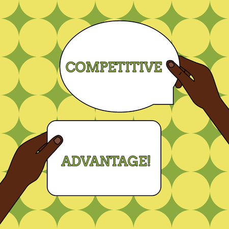 Text sign showing Competitive Advantage. Business photo text Company Edge over another Favorable Business Position Two Blank Figured Tablets Signs Held in Hands One Above Other Text Space