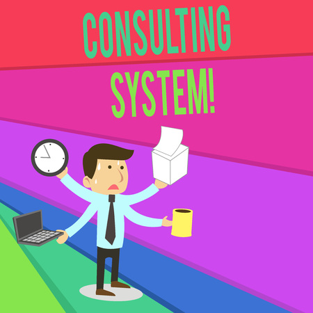 Handwriting text writing Consulting System. Conceptual photo Helping firms improve process adequacy and functionality Stressed Out Male Employee Manager Many Armed Multitasking Meet Deadline Stockfoto
