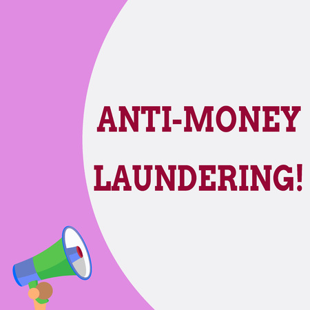 Text sign showing Anti Money Laundering. Business photo text regulations stop generating income through illegal actions Half part blank huge balloon empty text with small megaphone. Announcement