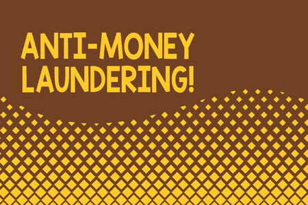 Handwriting text Anti Money Laundering. Conceptual photo regulations stop generating income through illegal actions Abstract waving background pattern square dots design. Simple Wallpaper Stock Photo