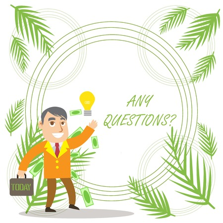 Conceptual hand writing showing Any Questions. Concept meaning Asking for inquiry Interrogation Clarification Successful Businessman Generating Idea or Finding Solution Banque d'images