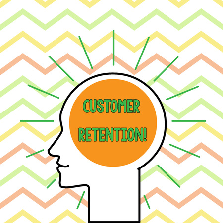 Conceptual hand writing showing Customer Retention. Concept meaning Keeping loyal customers Retain analysisy as possible Outline Silhouette Human Head Surrounded by Light Rays Blank Stockfoto