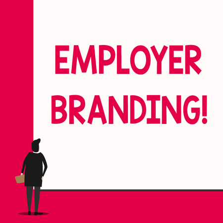 Conceptual hand writing showing Employer Branding. Concept meaning promoting company employer choice to desired target group Man stands in back view in front of huge big rectangle board
