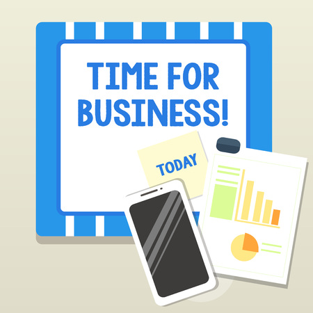 Word writing text time for business. Business photo showcasing product of interaction between organization and buyer Layout Smartphone Off Sticky Notes Clipboard with Pie Chart and Bar Graph