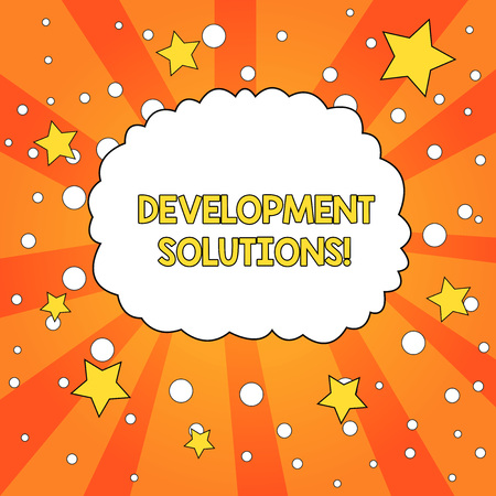 Word writing text Development Solutions. Business photo showcasing Efficient Planning based on the Company needs Blank Speech Bubble Cloud Orange Tone Sunburst Background Stars Circles Stock Photo
