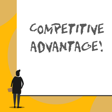 Conceptual hand writing showing Competitive Advantage. Concept meaning Company Edge over another Favorable Business Position Back view young woman watching blank big rectangle