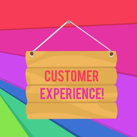 Word writing text Customer Experience. Business photo showcasing Interaction between Satisfied Customer and Organization Hook Up Blank Sign Plate. Empty Wooden Signboard with Lope for Hang