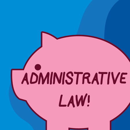 Conceptual hand writing showing Administrative Law. Concept meaning Body of Rules regulations Orders created by a government Fat huge pink pig plump like piggy bank with ear and small eye