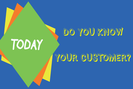 Writing note showing Do You Know Your Customer Question. Business concept for service identify clients with relevant information Different colored paper sheets light background. Origami paper material