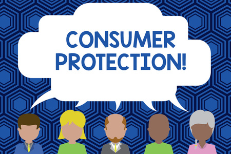 Text sign showing Consumer Protection. Business photo showcasing Fair Trade Laws to ensure Consumers Rights Protection Five different races persons sharing blank speech bubble. People talking