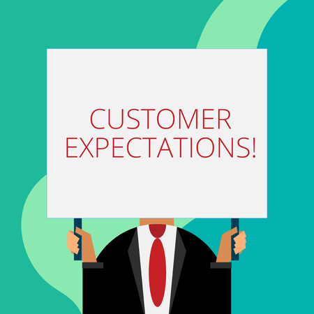 Handwriting text writing Customer Expectations. Conceptual photo Benefits a Client Expect Surpass the needs and wants Just man chest dressed dark suit tie no face holding blank big rectangle Banco de Imagens