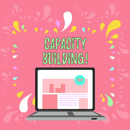Conceptual hand writing showing Capacity Building. Concept meaning Strengthen the abilities of individuals Workforce planning Laptop Switched On with Website Homepage Screen Web Search