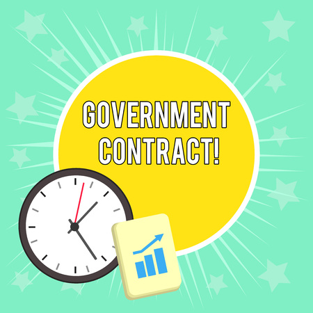 Writing note showing Government Contract. Business concept for Agreement Process to sell Services to the Administration Layout Wall Clock Notepad with Escalating Bar Graph Arrow