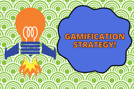 Word writing text Gamification Strategy. Business photo showcasing use Rewards for Motivation Integrate Game Mechanics Top view launching bulb rocket fire base. Starting new project. Fuel idea