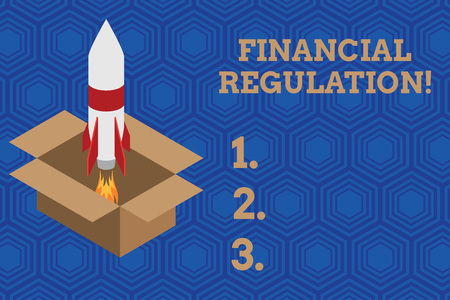 Handwriting text Financial Regulation. Conceptual photo aim to Maintain the integrity of Finance System Fire launching rocket carton box. Starting up project. Fuel inspiration Stock Photo