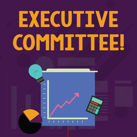 Word writing text Executive Committee. Business photo showcasing Group of Directors appointed Has Authority in Decisions Investment Icons of Pie and Line Chart with Arrow Going Up, Bulb, Calculator 스톡 콘텐츠 - 124229978