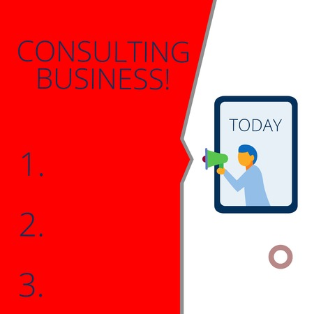 Conceptual hand writing showing Consulting Business. Concept meaning Consultancy Firm Experts give Professional Advice Geometrical background man chest holding megaphone speech bubble