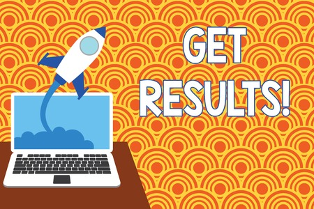 Text sign showing Get Results. Business photo showcasing caused or produced by something else Consequence outcome Successful rocket launching clouds out laptop background. Startup growing