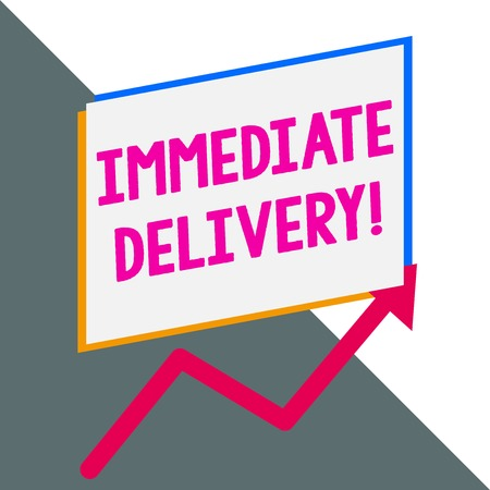 Conceptual hand writing showing Immediate Delivery. Concept meaning Send it Now Custom Procedure to dispose Promptly Blank rectangle above another arrow zigzag upwards sale