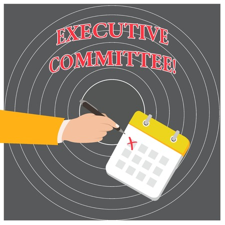 Conceptual hand writing showing Executive Committee. Concept meaning Group of Directors appointed Has Authority in Decisions Formal Suit Crosses Off One Day Calendar Red Ink Ballpoint Pen 스톡 콘텐츠 - 124230150