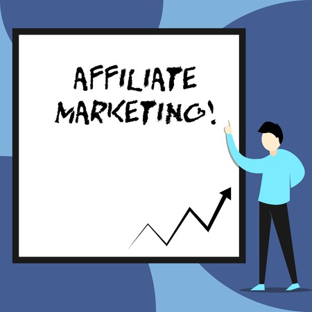 Word writing text Affiliate Marketing. Business photo showcasing Promoting another demonstratings product Earning a Commission View young man standing pointing up blank rectangle Geometric background