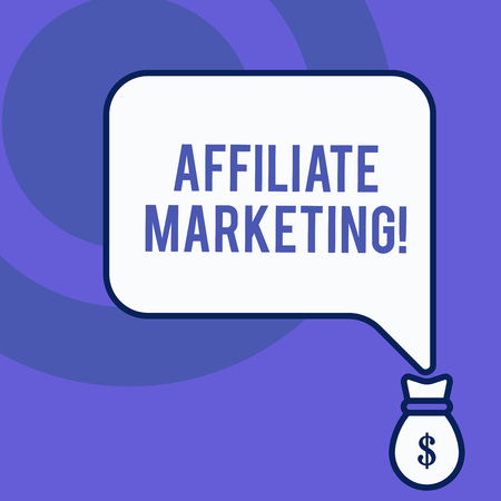 Writing note showing Affiliate Marketing. Business concept for Promoting another demonstratings product Earning a Commission Front view speech bubble pointing down dollar USD money